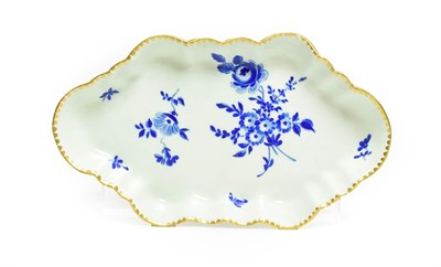 Lot 51 - A Worcester Porcelain Spoon Tray, circa 1770, of lobed lozenge form, painted in Dry Blue with...