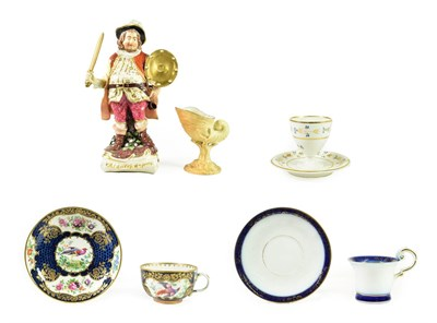 Lot 52 - A Derby Porcelain Figure of  Falstaff, circa 1780, standing, a sword in one hand, his shield in the