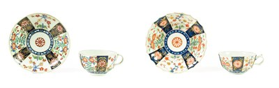 Lot 53 - A Worcester Porcelain Teacup and Saucer, circa 1775, of fluted form, painted with the Rich...