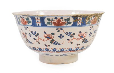 Lot 63 - An English Delft Punchbowl, probably London or Bristol, circa 1730, painted in blue, green and...