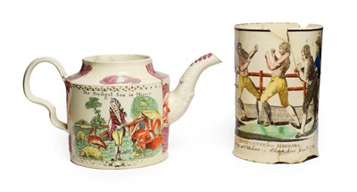 Lot 64 - A William Greatbatch Creamware Teapot, circa 1770, printed and overpainted with The Prodigal...