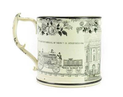 Lot 65 - A Herculaneum Pottery Robert Stephenson Commemorative Frog Mug, circa 1833-36, initialled RA...
