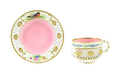 Lot 67 - A Royal Worcester Porcelain Reticulated Cabinet Cup and Saucer, circa 1870, painted with...