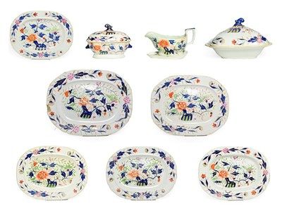 Lot 68 - A Staffordshire Ironstone Dinner Service, circa 1840, transfer printed and painted with Imari...