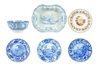 Lot 72 - An Enoch Wood & Sons Pearlware Plate, circa 1830, printed in underglaze with Fonthill Abbey,...