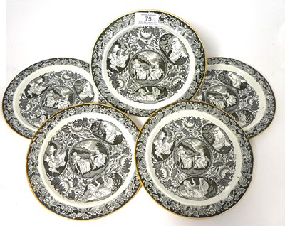 Lot 75 - A Set of Five Nelson Commemorative Pearlware Plates, circa 1805, transfer printed in black with...