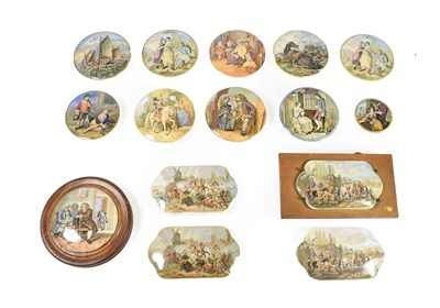Lot 76 - A Collection of Fifteen Various Pratt Type Pot Lids, 19th century, of circular and shaped...
