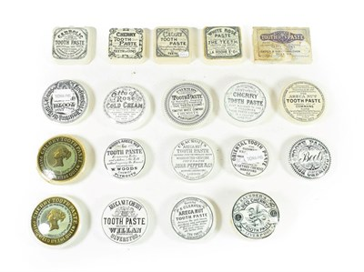 Lot 77 - A Collection of Twenty Various Toothpaste Pot Lids, 19th century, with printed labels including...
