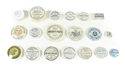 Lot 79 - A Collection of Nineteen Various Pot Lids, 19th century, printed with various labels including...