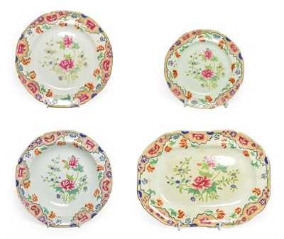 Lot 82 - A Set of Eight Spode Pearlware Dinner Plates, circa 1820, transfer printed and overpainted with...
