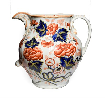 Lot 84 - A Staffordshire Stone China Toilet Jug, circa 1850, of fluted baluster form with leaf sheathed...