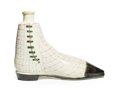 Lot 86 - A Pearlware Flask, possibly Portobello, circa 1820, modelled as a shoe with red and blue...