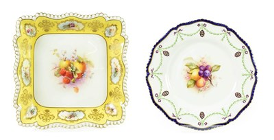 Lot 91 - A Royal Worcester Porcelain Dessert Dish, 1912, of square form, painted by George Cole with...