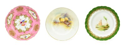 Lot 92 - A Royal Worcester Porcelain Tea Plate, by Ernest Barker, 1928, painted with sheep in landscape...