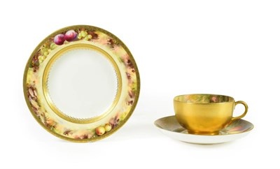 Lot 93 - A Royal Worcester Porcelain Cup and Saucer, by William Ricketts, circa 1919, painted with still...