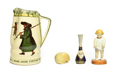 Lot 97 - A Royal Worcester Porcelain Netsuke, 1901, modelled as a mouse, printed mark in green, 6cm...