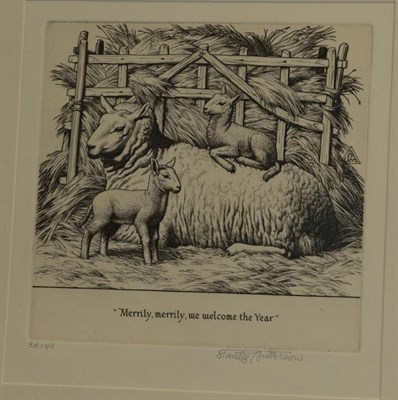 Lot 361 - Stanley Anderson (1884-1966) ''Merrily, merrily, we welcome the Year'' Signed in pencil and...