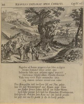 Lot 363 - After Melchior Kusel (1626-1684) ''Festum Pentecostes'' ''Regulus Implorat Opem Christi''  Two...