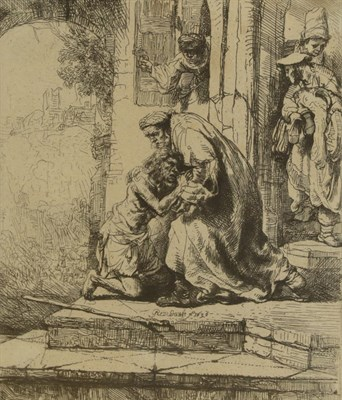 Lot 364 - After Rembrandt van Rijn (1606-1669) Dutch Return of the Prodigal Son Etching, 15cm by 13.5cm