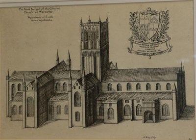 Lot 365 - After Daniel King (d.1664)  ''The North Prospect of the Cathedral of Worcester'' Etching, from...