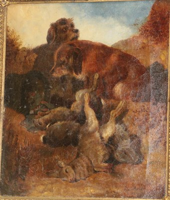 Lot 367 - Florence Aston (19th century) Two Terriers with the day's bag Signed and dated 3/(18)82, oil on...