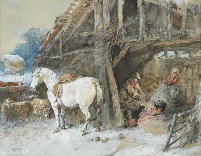 Lot 368 - Harden Sidney Melville (fl.1837-1881) Country folk warming themselves at a stable fireside  Signed