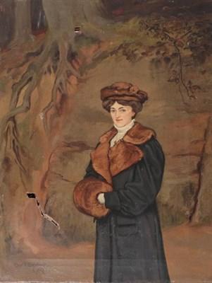 Lot 369 - Charles E. Baldock (19th/20th century)  Portrait of an elegant lady wearing a brown fur muff...