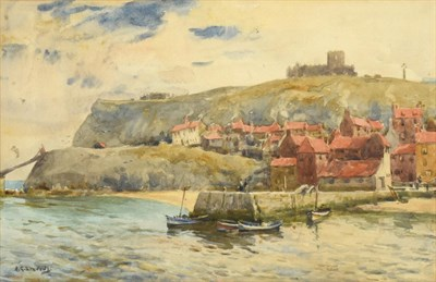 Lot 370 - Albert George Stevens (1863-1925) A view of Whitby Abbey from the Harbour Signed, watercolour, 19cm