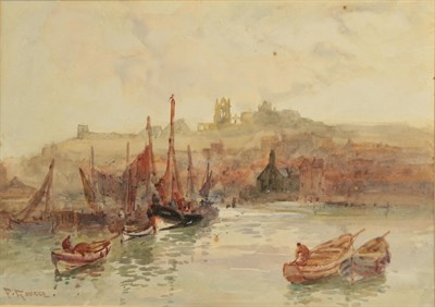 Lot 372 - Frank Rousse (exh.1890-1915)  A view of Whitby Abbey from the Harbour Signed, watercolour, together