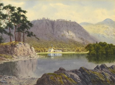 Lot 373 - Edward Horace Thompson (1879-1949)  Lake District view with house on a lake  Signed and dated 1927