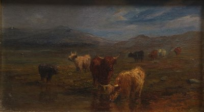 Lot 374 - Percy Gravely (exh.1886-1904) ''Near Killin'' Signed, with ink inscribed label and pencil...