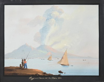 Lot 375 - Neapolitan School (19th century)  View of the Bay of Naples with rumbling Vesuvius  Inscribed...