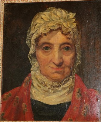 Lot 376 - Circle of Erskine Nicol (1825-1904) Scottish  Head study portrait of a lady wearing a white...