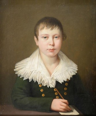 Lot 377 - Circle of Louis Leopold Boilly (1761-1845) French  Portrait of a young boy seated at a desk,...
