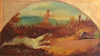 Lot 381 - Follower of Henry Thomas Alken (1785-1851) Hound chasing hare Oil on metal, 11.5cm high (demi-lune)