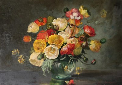 Lot 382 - Attributed to Cecil Kennedy (1905-1997) Still life of flowers in a glass vase  Bears signature, oil