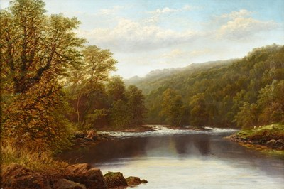 Lot 383 - William Mellor (1851-1931) ''Meeting of the waters, Bolton Wood, Yorkshire'' Signed, inscribed...