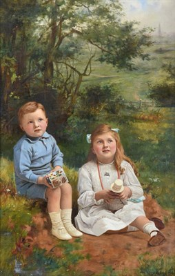 Lot 385 - Charles Spencelayh (1865-1958) Portrait of a young boy and his sister seated in a landscape  Signed