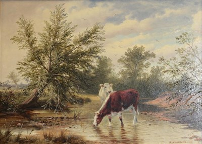 Lot 386 - H Leslie Davis (19th/20th century) Cattle watering on a river  Signed and dated 1899, oil on board