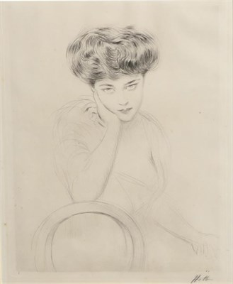 Lot 387 - Paul César Helleu (1859-1927) French  Portrait of a sultry siren, head and shoulders Signed in...
