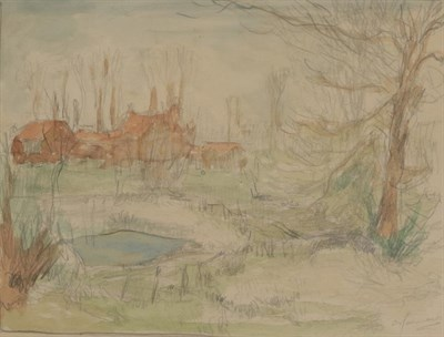 Lot 389 - Alexander Jamieson (1873-1937) Scottish Houses amongst trees Signed, watercolour and pencil,...