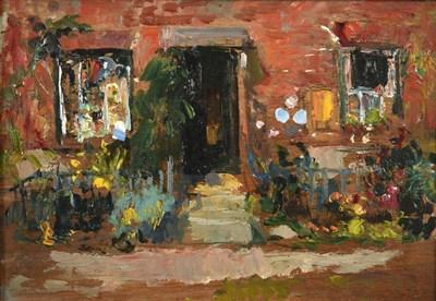 Lot 390 - Alexander Jamieson (1873-1937) Scottish The artist's studio Oil on panel, 14.5cm by 19.5cm...