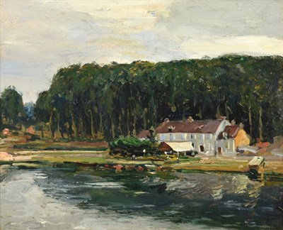 Lot 392 - Alexander Jamieson (1873-1937) Scottish Village on the Seine Signed, inscribed and dated 1912...