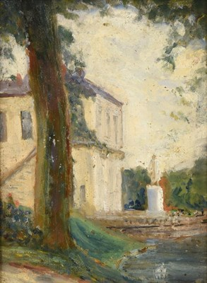 Lot 394 - Alexander Jamieson (1873-1937) Scottish View of a statue, with study verso Signed verso, oil on...