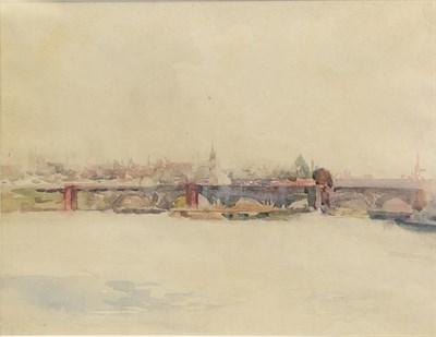 Lot 395 - Alexander Jamieson (1873-1937) Scottish Bridge on the Seine Watercolour, 21.5cm by 29cm