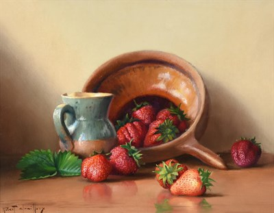 Lot 397 - Robert Chailloux (1913-2005) French  Still life of peaches, cherries, a stoneware flagon and a...