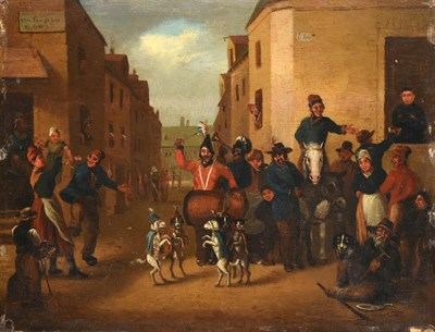 Lot 399 - French School (19th century) Dogs dancing on the Rue de Joie  Oil on panel, 24cm by 31.5cm,...