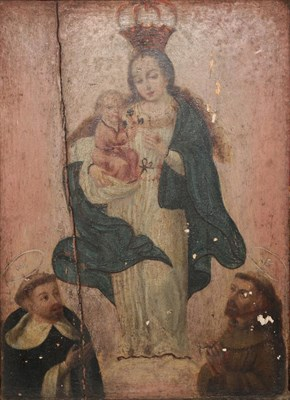 Lot 400 - Manner of B E Murillo (1618-1682) Spanish  Standing Madonna and child with attendant saints Oil...