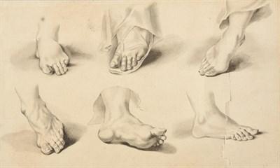 Lot 401 - Circle of Samuel de Wilde (1751-1832) Sheet of foot studies Bears signature, watercolour en...