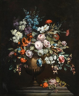 Lot 402 - Continental School (19th century)  Still life of Roses, Carnations and Honeysuckle arranged in...